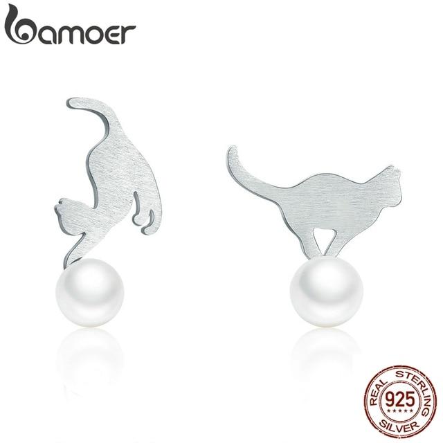 BAMOER Hot Sale 100% 925 Sterling Silver Naughty Cat Play Ball Drop Earrings Women Sterling Silver Earrings Jewelry Gift SCE235