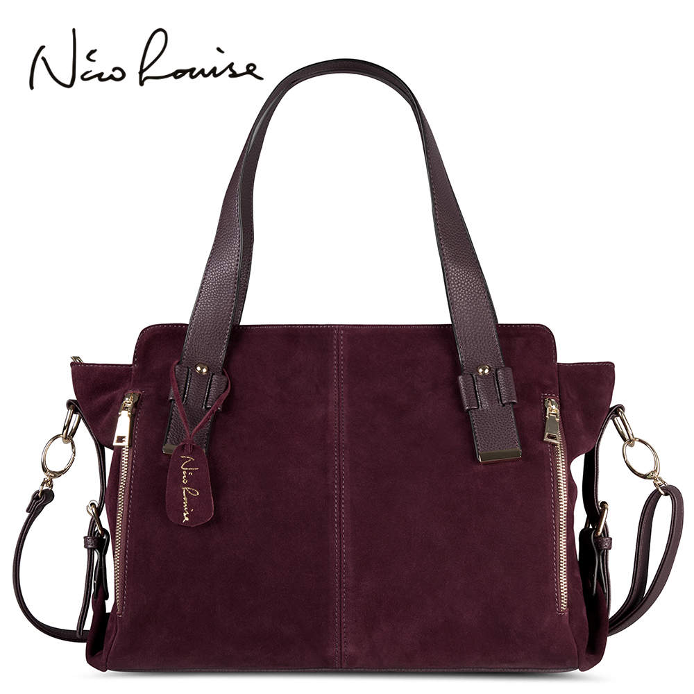 Split Suede Leather Boston Bag