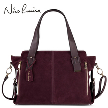 Nico Louise Women Real Split Suede Leather Boston Bag Original Design Lady Shoulder Large Travel Doctor Handbag Top-handle Bags