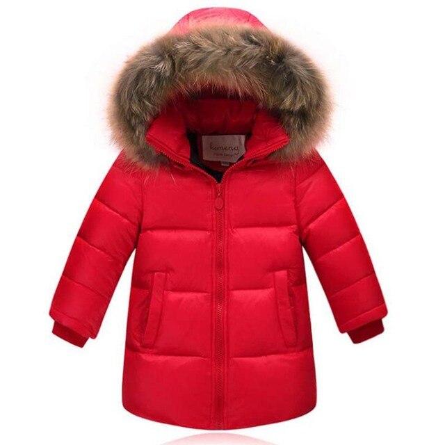 US $39.53 15% di SCONTO Per 2 12Years Bambini Collo di Pelliccia Giacche Ragazzi Ragazze Piume D'anatra Bianca Cappotti Casual bambini inverno caldo