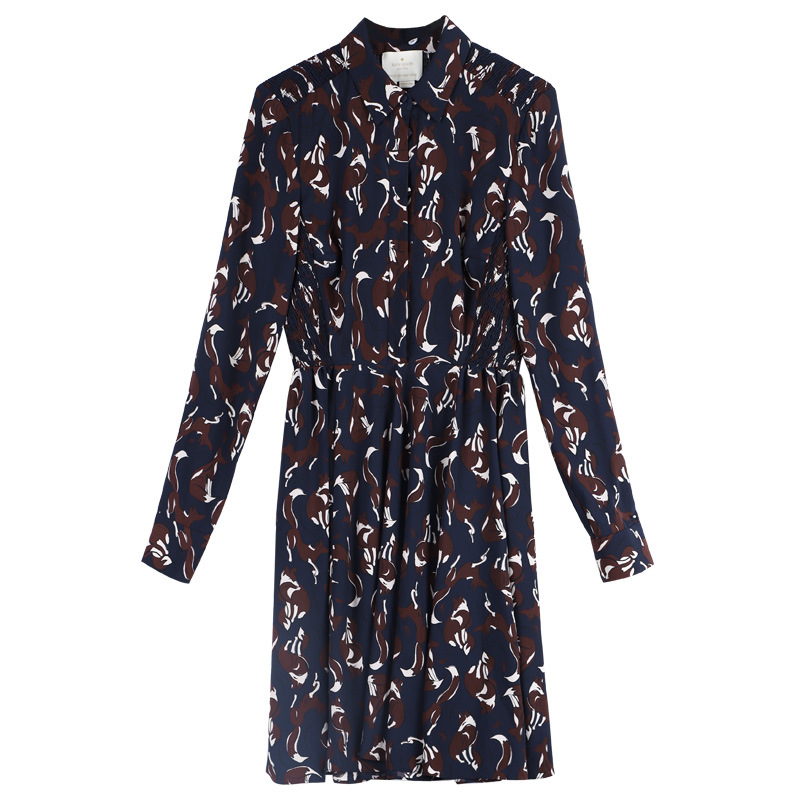En Femmes Robe Manches Nouvelles De Longues Longue Revers D'impression Bleu Taille 2019 Chemise rwCq0vrE