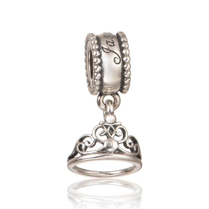 New Tiara Dangle Crown Charm 925 Sterling Silver Jewelry