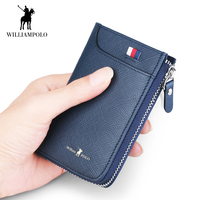WilliamPOLO Genuine Leather Key Case Wallet Keychain Organizer Car Key Holder Credit Card Cash Purse Khaki Black Blue Claret