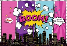 Laeacco Superhero Birthday Party Baby Comics Boom City Banner Photographic Backgrounds Photo Backdrops Photocall Studio