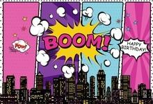 Laeacco Superhero Birthday Party Baby Comics Boom City Banner Photographic Backgrounds Photo Backdrops Photocall Photo Studio laeacco photographic backgrounds mask ribbons birthday party celebration baby newborn photo backdrops photocall photo studio
