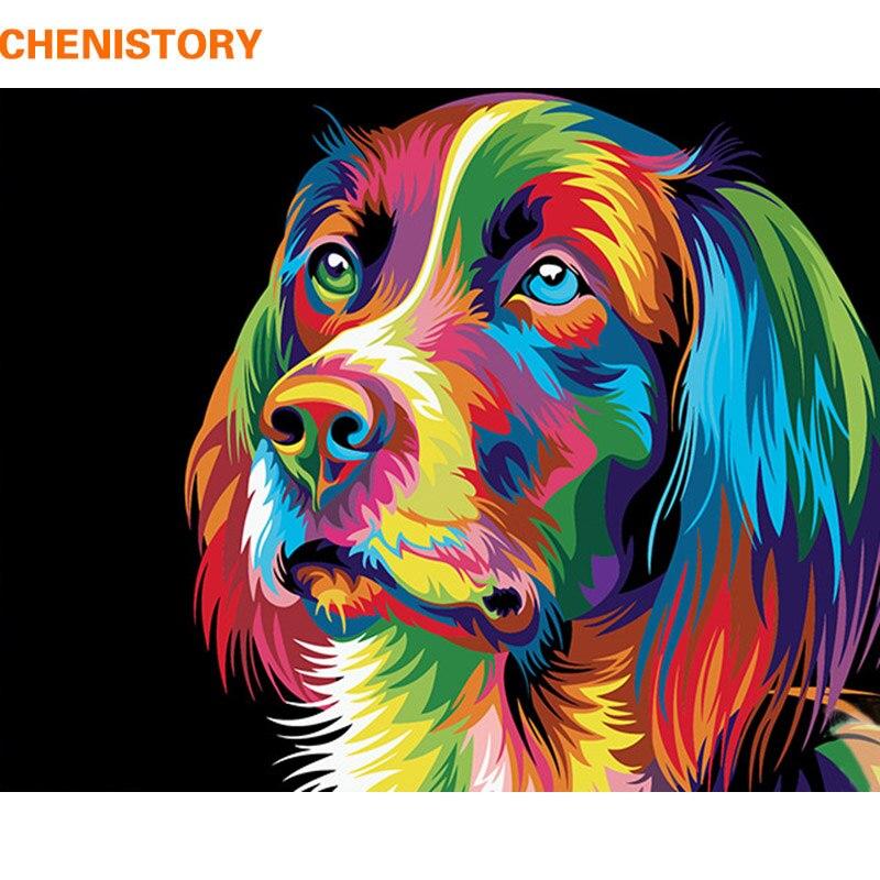 CHENISTORY perros animales pintura DIY por números Kits pintura acrílica sobre lienzo pintura al óleo pintada a mano para decoración del hogar 40x50 cm arte