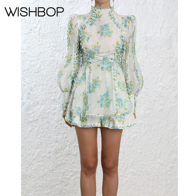 8081fb69d46f Fashion 2018 Ready To Wear Show Whitewave Honeymooners Mini Dress - Wishbop  Spring New Floral Print High Neckline Dress