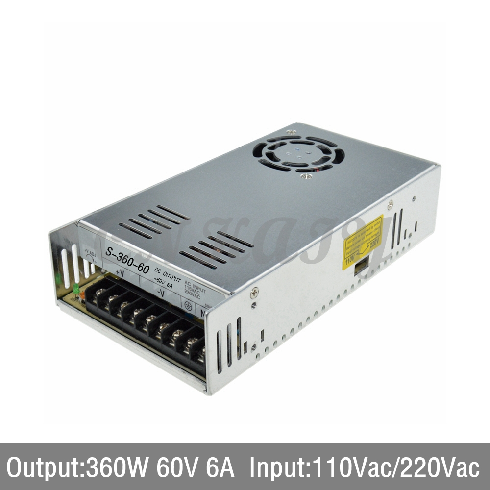 3PCS AC110/ 220V to 360W 60Vdc 6A LED Driver single output Switching power supply Converter for LED Strip light via express 1200w 48v adjustable 220v input single output switching power supply for led strip light ac to dc