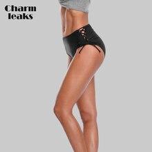 все цены на Charmleaks Women Bikini Bottom Swim Trunks Ban Solid Color Swimwear Briefs Swimwear Side Bandage Swimming Bottom