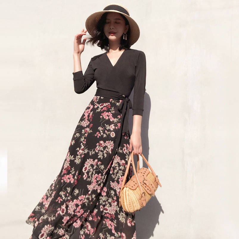 Women V-Neck Cropped Sleeves Florals Print Maxi Wrap Dresses 2018 Summer Ladies Vacation Black Long Beach Dress all over florals wrap blouse