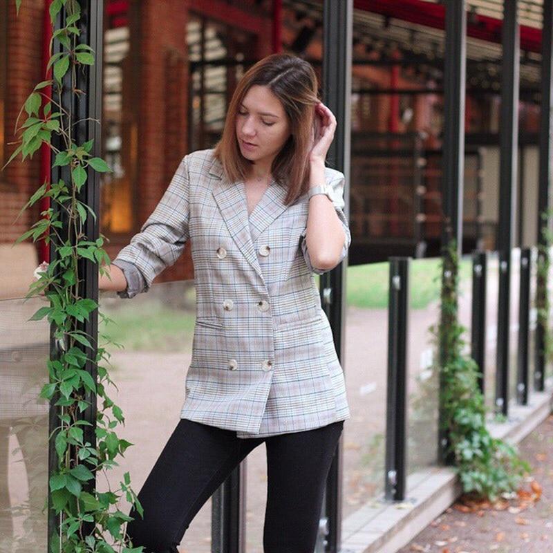 Casual Plaid Women Blazer Jacket Notched Collar Double Breasted Female Suit Coat Fashion Outerwear blaser femme Jacket 5
