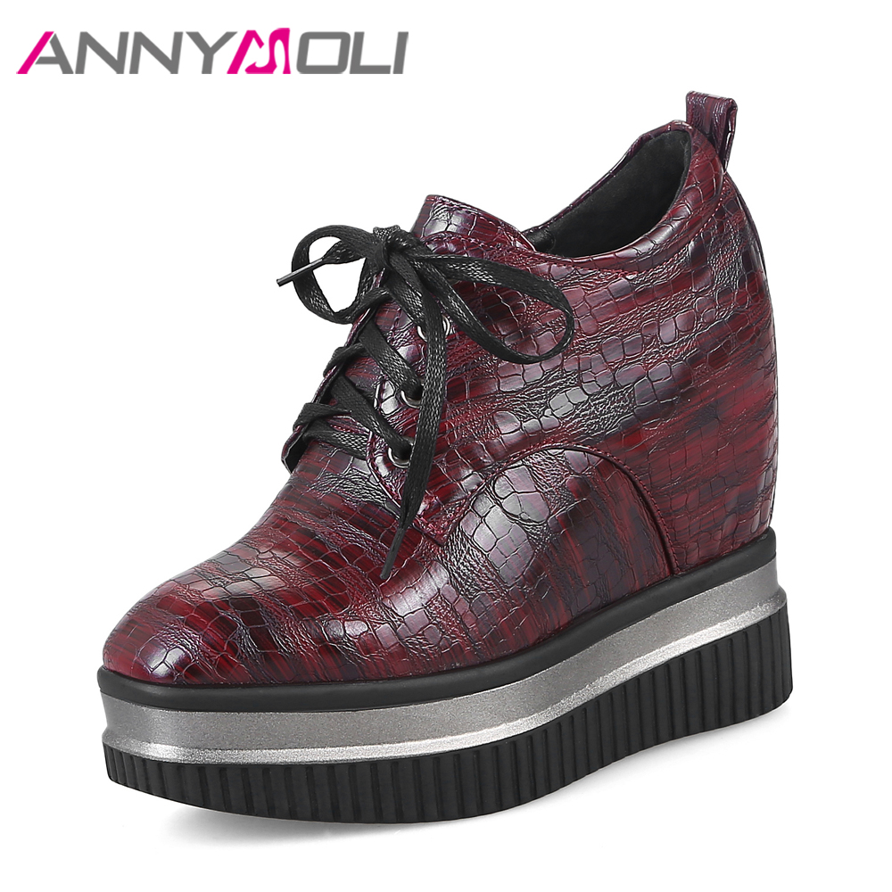 ANNYMOLI Women Boots Platform Wedge Heels Ankle Boots Lacing High Heel Autumn Boots Hidden Heel Ladies Winter Shoes 2017 Red okhotcn golden chain women shoes high wedge shoes platform hidden heel zapatos mujer fashion high top tenis feminino ankle boots