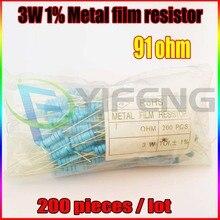 НОВЫЙ 200 шт. 91 ом 3 Вт 91 R Металл Резистор 91Ohm 3 Вт 1% ROHS
