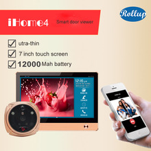 ROLLUP iHome4 Face Recognition WiFi Peephole Door Viewer&Video IP Doorbell  IR PIR Door HD Camera Motion Detect Remote Control