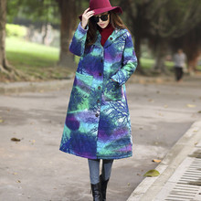 Women's Coats & Jackets Winter Chinese National Style Cotton Padded Jacket Hooded Long Thick Loose Coat Plus Size Parka TT218