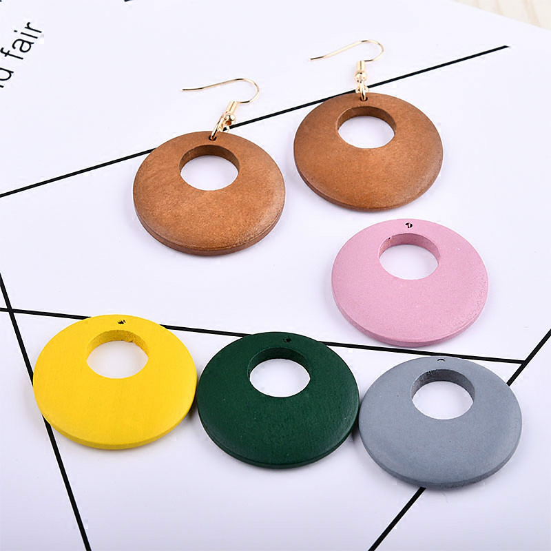 DIY Handmade Solid Earrings Accessories, Wooden Ear Accessories Necklace Pendants, Geometric Circular Hollow Pendants