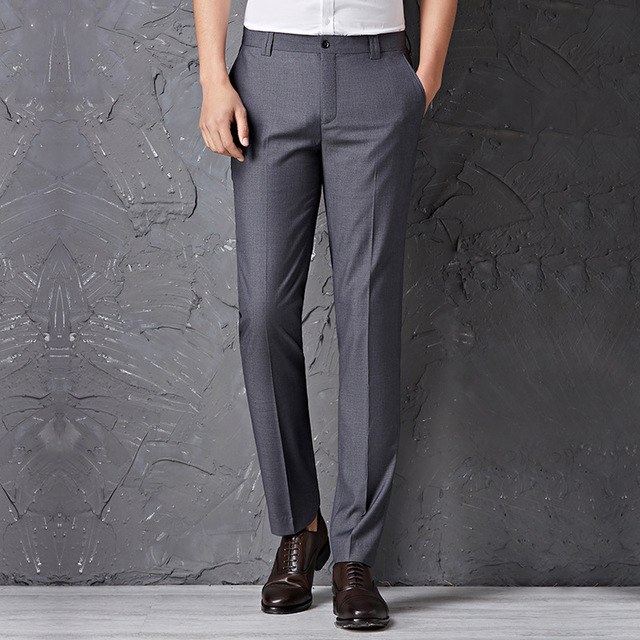 Slim Fit 2017 New Style Men's Casual Long Trousers men Non-Iron plus size Suit Pants Plus Size W29-40
