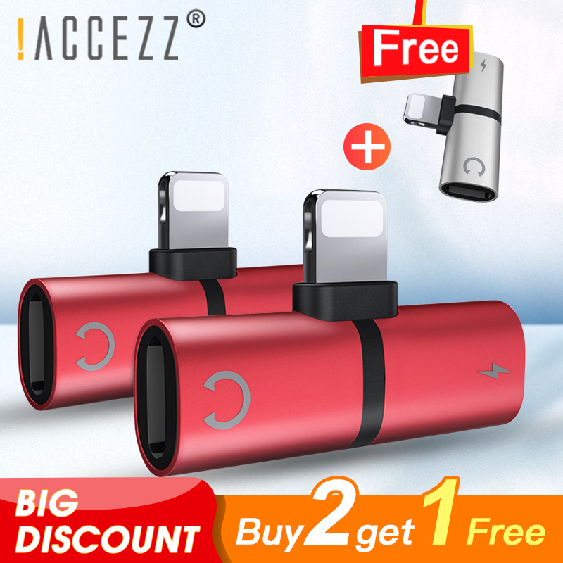 !ACCEZZ 2 in 1 Audio Headphone Adapter Connector Splitter For iphone 7/8Plus X MAX XR Charging Calling Listening Buy Two Get One image