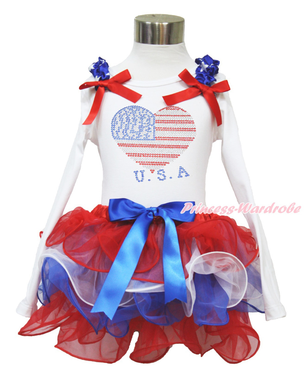 4th July Rhinestone USA Heart White L/S Pettitop Red White Blue Petal Pettiskirt NB-8Y MAMH225 pumpkin print white pettitop coral petal skirt nb 8year baby girl mamh241