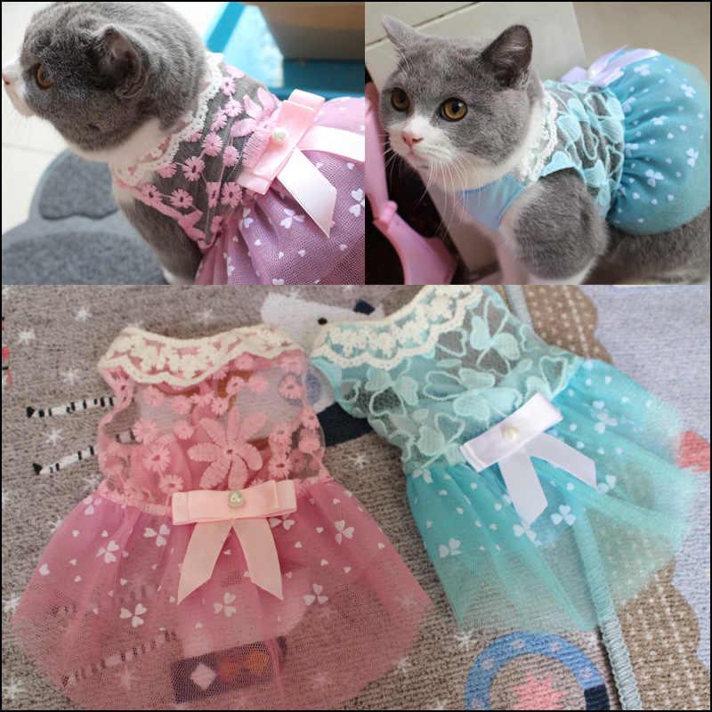 Летняя Милая домашняя кошка платье Модная кружевная Одежда для кошек Котенок платья Повседневная галстук-бабочка юбка для собак Кошки Одежда для домашних животных
