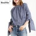 Realshe camisa 2016 outono das mulheres de manga comprida blusa bonito stripped solto parte superior ocasional blusa mulheres clothing plus size