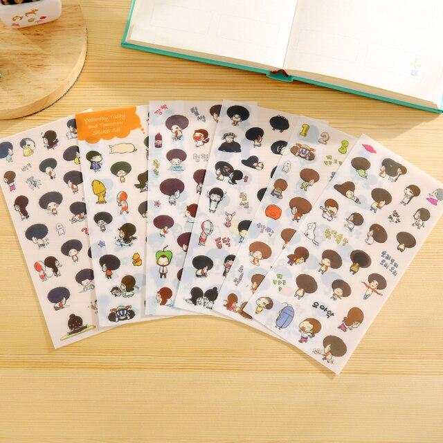 6pcslot Korea Style Creative Stickers Exploding Head Girl Series