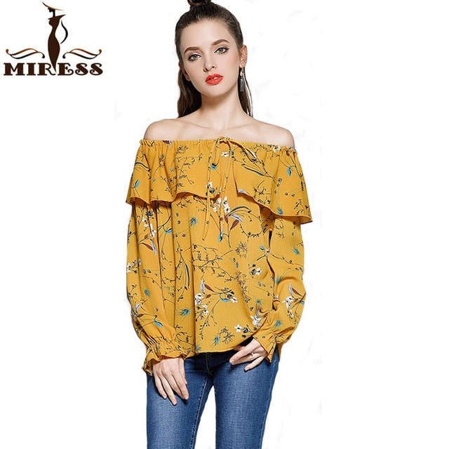 188802ff6357 Women Blouses and Tops European Style Korean Women Clothing Sexy Floral Off  Shoulder Chiffon Flare Long Sleeve Shirts MIRESS