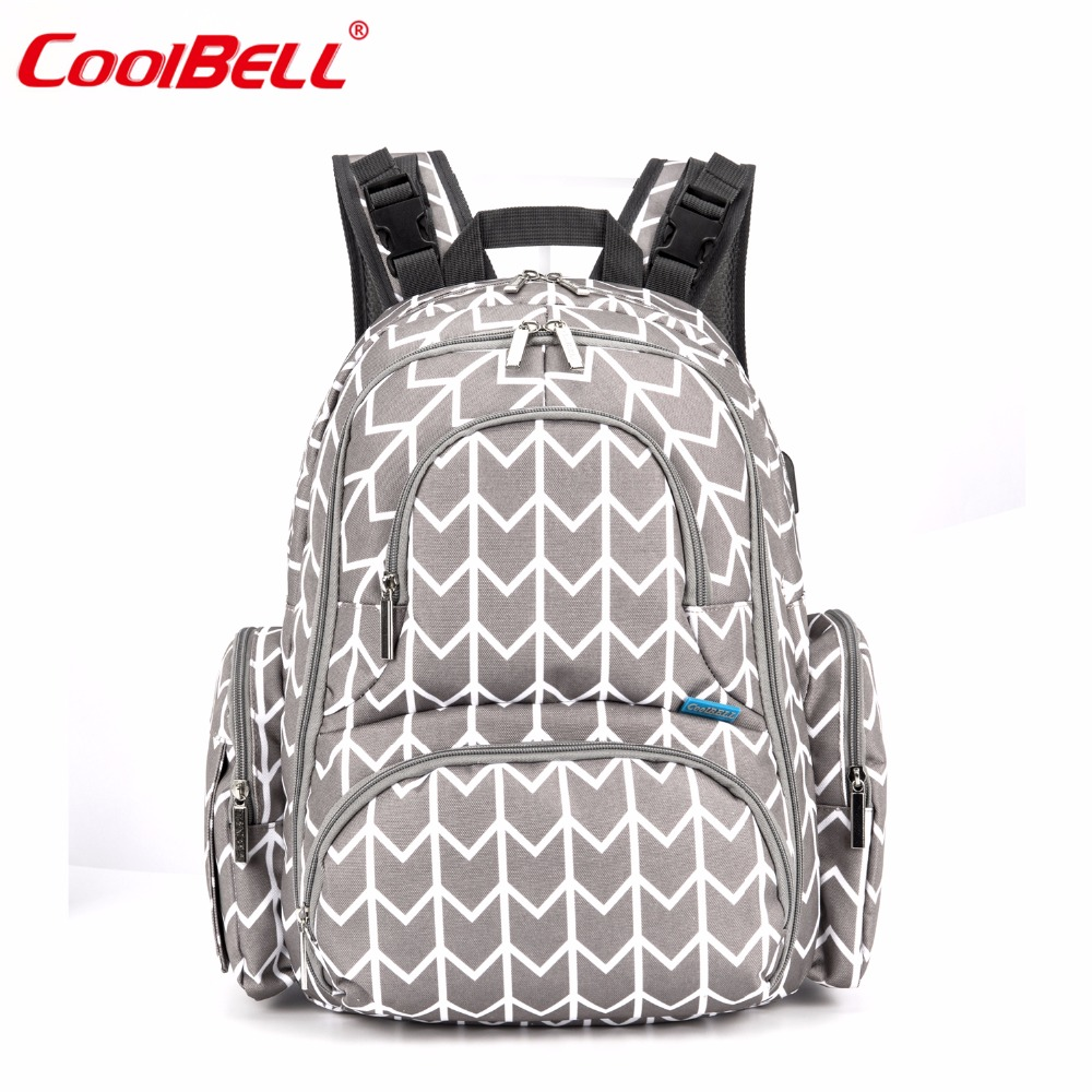 CoolBell Brand Mummy Maternity Nappy Bag Waterproof Baby Bag Diaper Bag Backpack With USB Charging Port For Men / Women