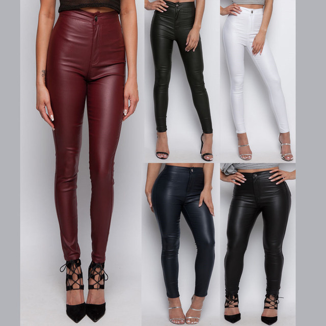 Sexy super skinny high waisted leather pencil pants solid full length  trousers jeans jegging leggings 3 color for women woman ac70a7be03