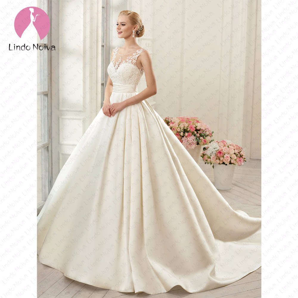 Lindo Noiva Sexy Satin A Line Wedding Dresses 2019 for Bride Backless Chapel Train Bridal Gowns