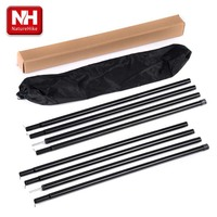 2 2m Black Reinforced Tent Pole 4 Sections Per Pole Sherardized Steel Rod For Tent Awning