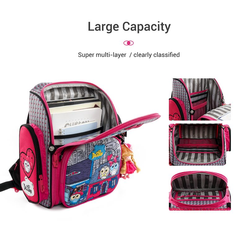 Delune 새로운 3d 올빼미 패턴 학교 가방 소녀 소년 만화 배낭 어린이 정형 배낭 학생 가방 mochila infantil-에서학교가방부터 수화물 & 가방 의  그룹 2