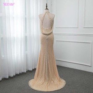 Image 2 - Luxo ouro longo cristais beading vestido de noite sereia vestido de noite formal vestidos femininos yqlnne