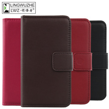 LINGWUZHE Book Style Genuine Leather Cover Mobile Phone Prot