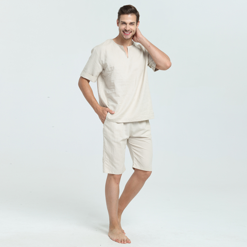 Men and Woen Unisex Ramie and Cotton Sumer and Spring Short Top Sleepwear  Home Wear Loungewear pajama Sets with Long Pants-in Men s Pajama Sets from  ... b8c03a14f
