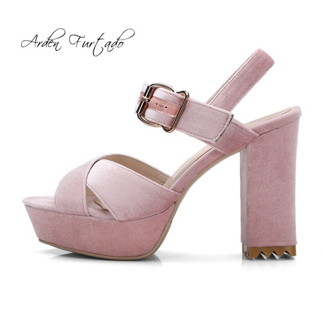 d5bac9528a7 US $79.0  Arden Furtado 2018 summer high heels 10cm platform velvet sandals  big size small size 32 33 buckle strap pink grey shoes ladies-in High ...