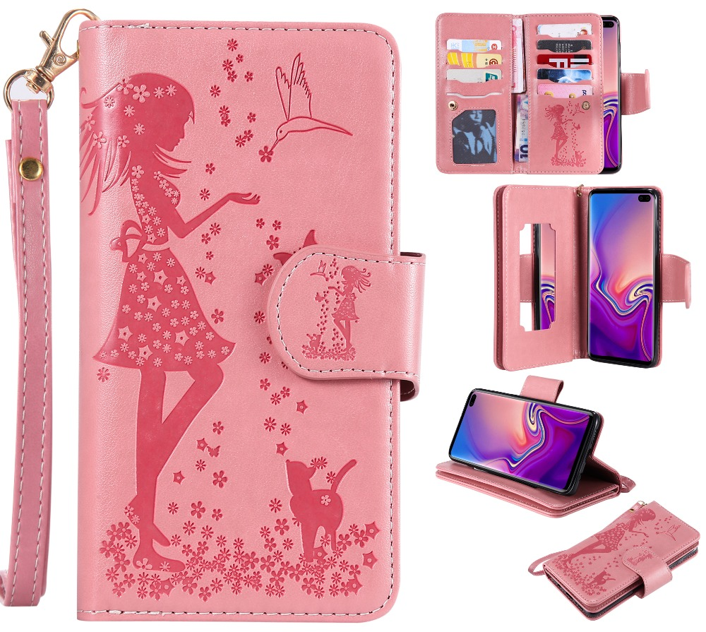 Card Slot Mirror Beautiful Girl And Cute Cat Case For Samsung Galaxy S10 Plus Leather Beauty Female Handbag Phone Cases Coque Fitted Cases Aliexpress