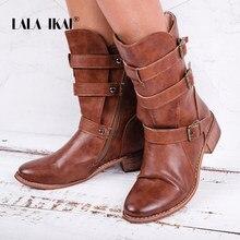 9f7e5b46 LALA IKAI botas de tobillo mujeres cremallera occidental hebilla Med talón  punta redonda de cuero PU marrón zapatos de invierno .