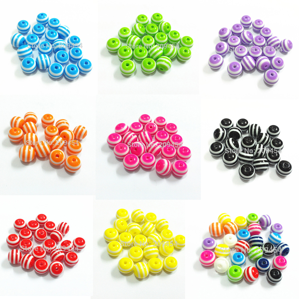 Small Size Beads: Wholesale ! 12mm/16mm Small Size Resin Striped Chunky