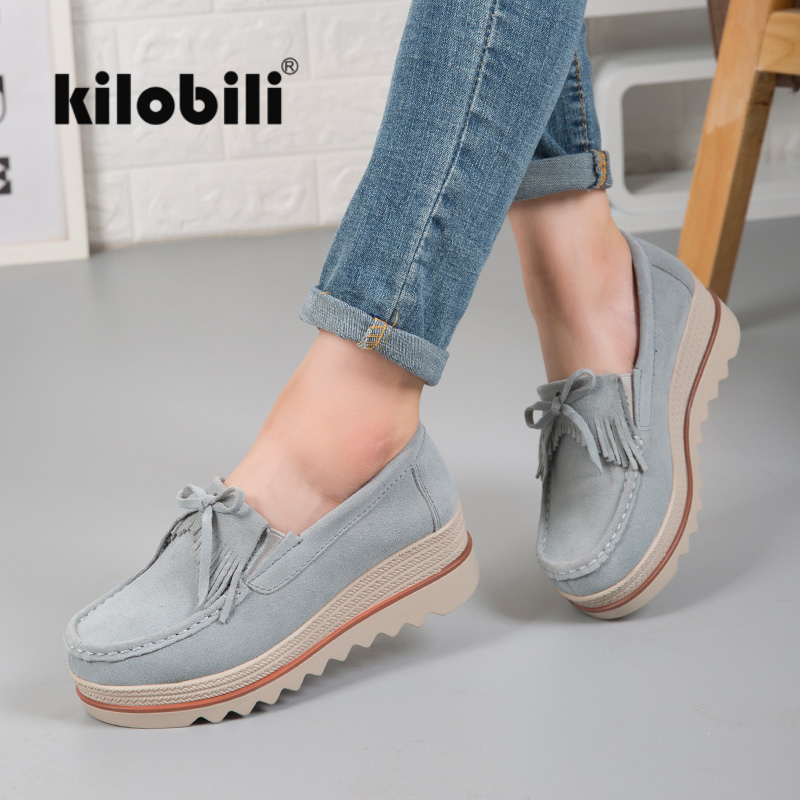 kilobili 2018 Autumn women flats shoes women platform flat shoes   leather     suede   casual shoes slip on Tassel Creepers footwears