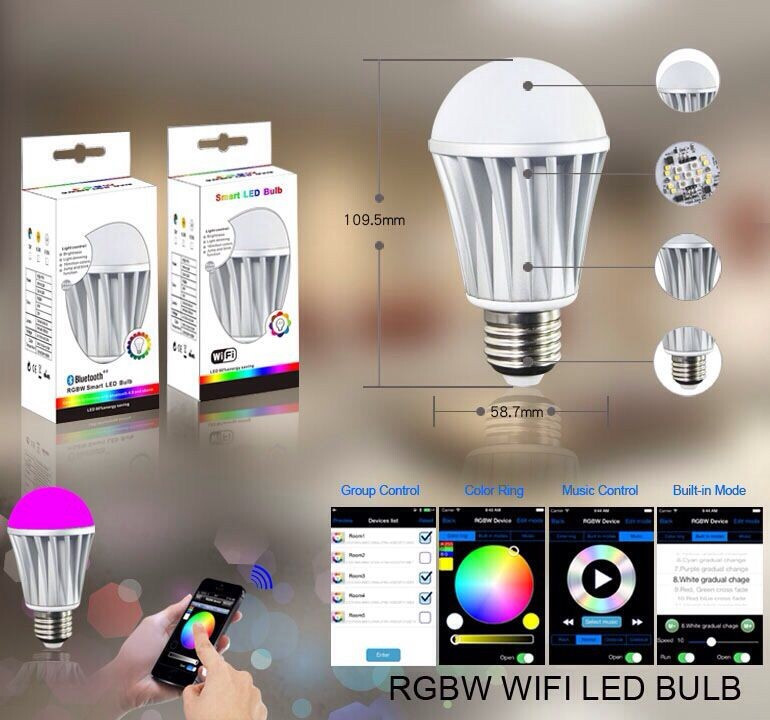 Magic 7W E27 wifi RGBW led light bulb smart Wireless remote control le lamp color change dimmable for home hotel IOS Android ...