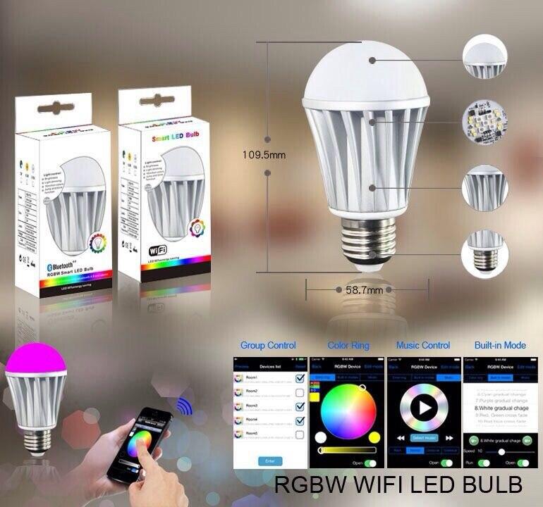 Magique 7 W E27 wifi RGBW lumière LED ampoule intelligente sans fil télécommande le changement de couleur de la lampe dimmable pour la maison hôtel IOS Android