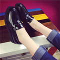 2016 New Loafers Flat Shoes For Women Patent Leather Casual Carved Oxford Shoes Women Tassel Creepers Patform Gommini Shoe
