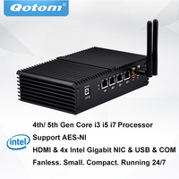 QOTOM Mini PC PFSense AES NI with 4 Gigabit NIC, Core i3 i5 i7 Processor, Fanless Mini PC with Serial Port