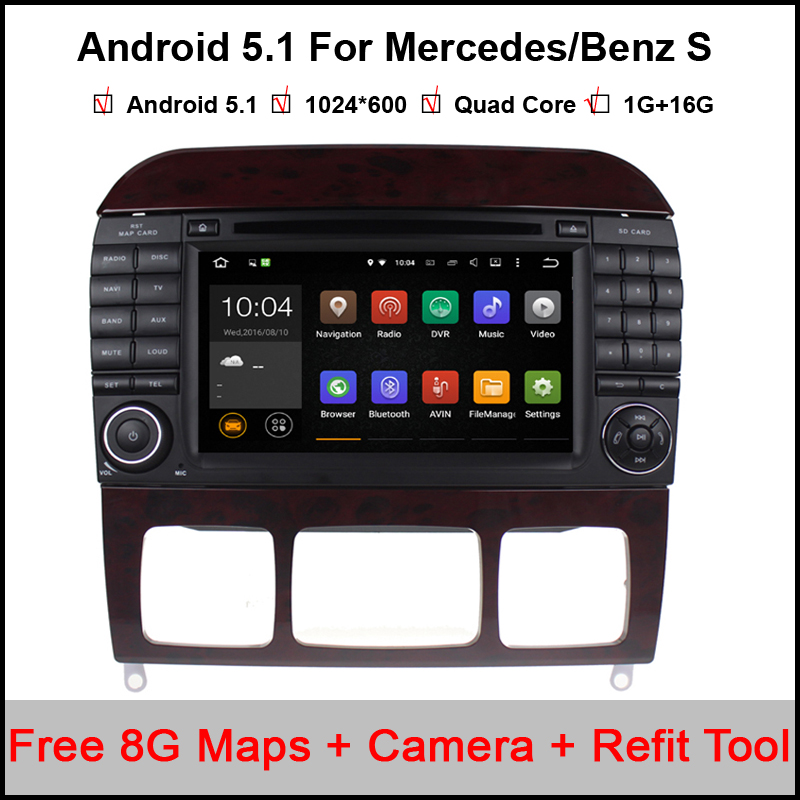 1024*600 Quad Core Android 5.1.1 Car DVD Player for Mercedes/Benz S Class W220 S280 S320 S350 S400 S420 S430 GPS Stereo Radio BT