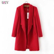 2017 women winter autumn jacket long women coat slim suit collar long style soild woolen coat female jacket