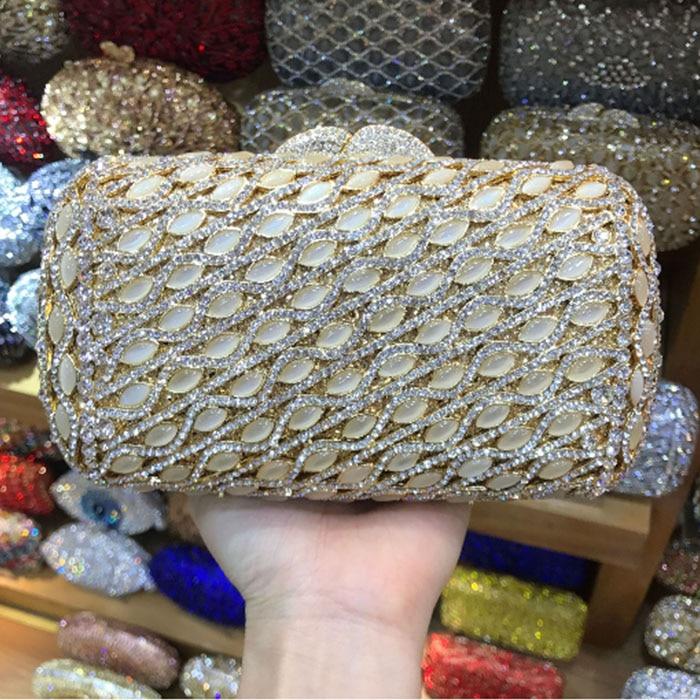 0dd5fc3a03 Hollow Out Crystal Rhinestones Women Mini Evening Clutches Bags Hardcase  Wedding Bridal Metal Box Clutch Shoulder Handbags gold