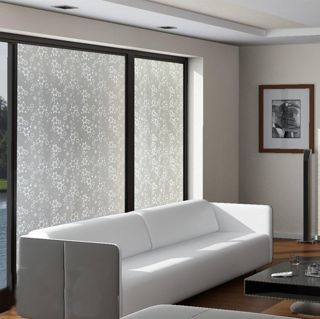 Snow White Living Room Sliding Door Glass Decorative Frosted Glass Sticker  45x400cm