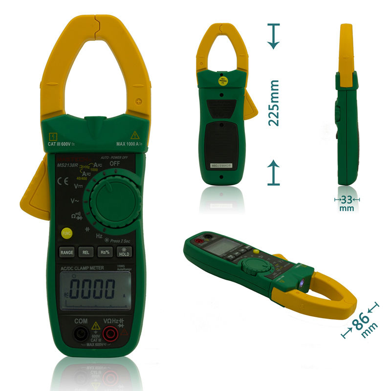 MASTECH MS2138R Digital Clamp Meter 4000 Counts AC DC Voltage Current Capacitance Resistance Tester auto digital clamp meter mastech ms2108a pincers ac dc current voltage capacitor resistance tester aimometer multimeter amper
