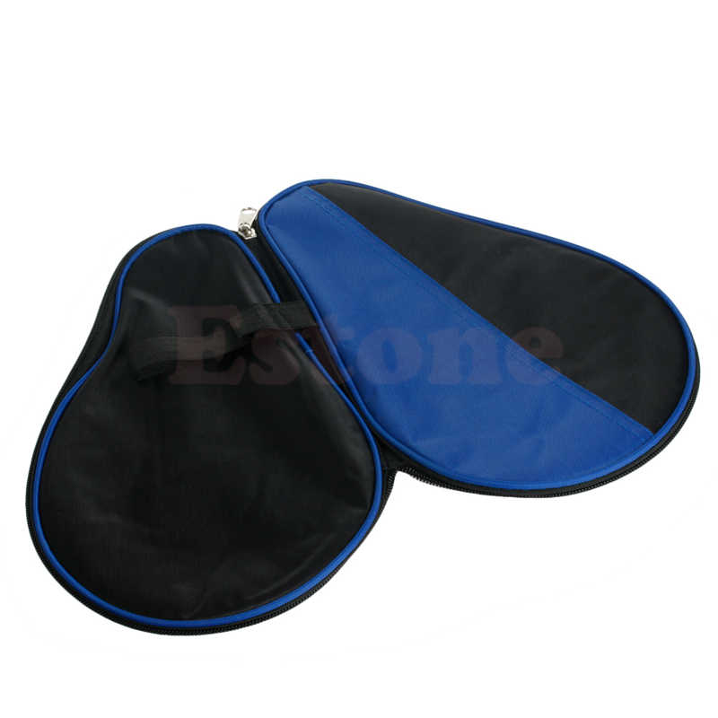 Portable Waterproof Table Tennis Racket Case Bag For Ping Pong Paddle Bat  Black+Blue